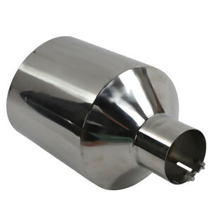 4 Inlet 10 Outlet 18 Inch 45 Degree Stainless Steel Polish Bolt On Exhaust Tip