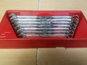 Snap On 7pc 12 pt Sae Flank Drive Plus Standard Combination Wrench Set Soex707