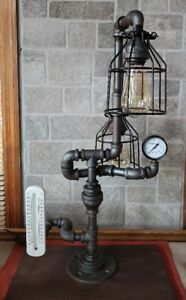 Antique Style Industrial Pipe Table Lamp With Vintage Thermometer And Gauge