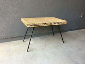 Iron Rattan Folding Coffee Table Vintage Mid Century Modern Eames Modernist Era