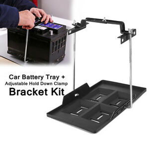Universal Car Vehicle Storage Battery Holder Stabilizer Tray Hold Down Clamp Kit