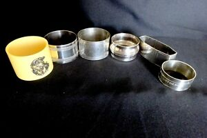 6 Vintage Napkin Rings Christofle Gallia French Silver Plate Flatware Antique