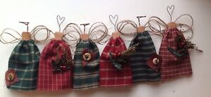 Simply Primitive Christmas Homespun Tree Ornaments Ornies Angels Dolls