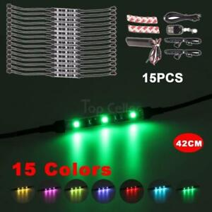 15pcs Motorcycle Lighting Light Led Strip Kit Rgb Multi Color Remote Controlle