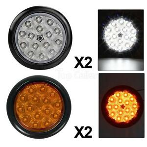 4xwhite amber 15led Sealed 4 Round Stop Turn Tail And Reverse Light Flush Mount