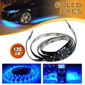2x 120cm 48 60led 12v Waterproof 3528 Smd Flexible Led Strip Light Blue Running