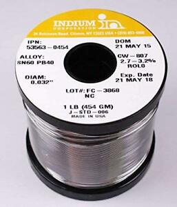 Indium 53563 0454 60 40 No Clean Wire Solder 2 7 3 2 Core 032in 1lb