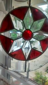 Vintage Leaded Hanging Stained Glass Round Panel