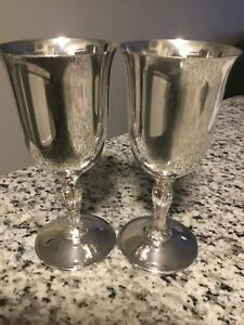 2 Vintage Wm Rogers Antique Silver Plate Wine Goblets 5 1 2 Tall