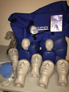 Cpr Prompt Training Manikins 5 Adult 2 Infant Mannequins Dvd Manual Lung Bags