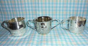 Lot Of 3 Vintage Silver Plated Baby Cups Napier Oneida Duck And Animal Cups