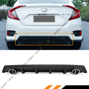 For 2016 18 Honda Civic 4dr Rear Bumper Diffuser Dual Axle Back Muffler Pipes