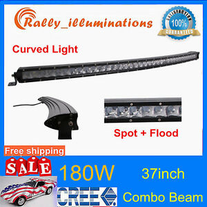 Curved 37 180w Cree Led Light Bar Jeep Off Road Single Row Combo Lamp Rzr Vs 36