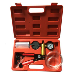 Brake Fluid Bleeder Hand Held Vacuum Pistol Pump Tester Kit Adapters W Box