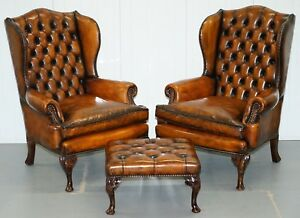 Pair Of William Morris Chesterfield Victorian Wingback Armchairs Brown Leather