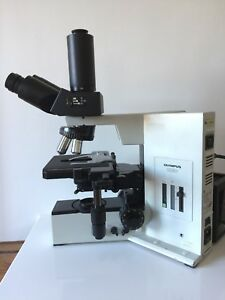 Olympus Microscope Bx50 Trinocular 100w Lamp Objectives X y Stage Condenser