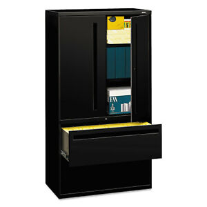 Hon 700 Series Lateral File W storage Cabinet 36w X 19 1 4d Black 785lsp