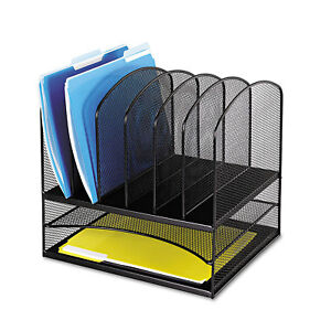 Safco Mesh Desk Organizer Eight Sections Steel 13 1 2 X 11 3 8 X 13 Black 3255bl