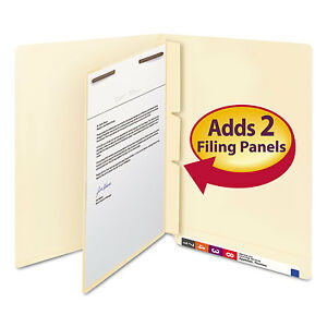Smead Manila Self adhesive End top Tab Folder Dividers 2 sections Letter 100 box