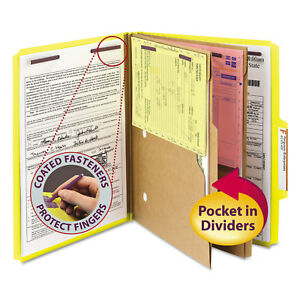 Smead Pressboard Folders With Two Pocket Dividers Letter Six section Yellow 10