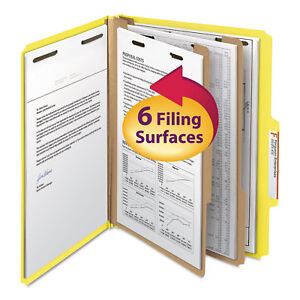 Smead Top Tab Classification Folder Two Dividers Six section Letter Yellow 10