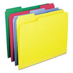 Smead Watershed cutless File Folders 1 3 Cut Top Tab Letter Assorted 100 box