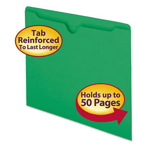 Smead Colored File Jackets W reinforced 2 ply Tab Letter 11pt Green 100 box