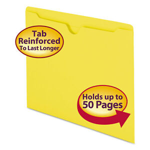 Smead Colored File Jackets W reinforced 2 ply Tab Letter 11pt Yellow 100 box