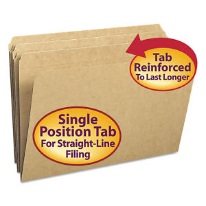 Smead Kraft File Folders Straight Cut Reinforced Top Tab Legal Kraft 100 box