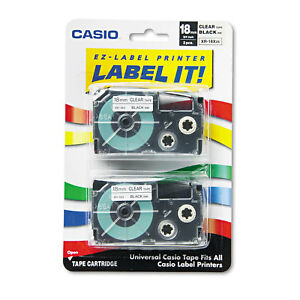 Casio Tape Cassettes For Kl Label Makers 18mm X 26ft Black On Clear 2 pack