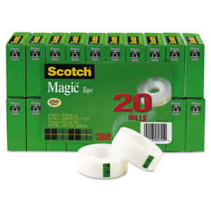 Scotch Magic Tape Value Pack 3 4 X 1000 1 Core Clear 20 pack 810k20