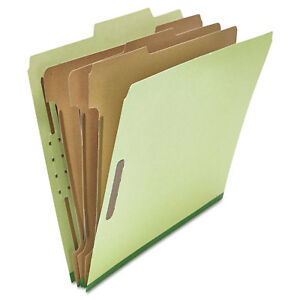 Universal Pressboard Classification Folder Letter Eight section Green 10 box