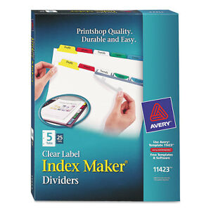Avery Print Apply Clear Label Dividers W color Tabs 5 tab Letter 25 Sets 11423