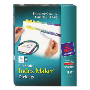 Avery Print Apply Clear Label Dividers W color Tabs 5 tab Letter 25 Sets 11992