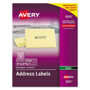 Avery Clear Copier Mailing Labels 1 X 2 13 16 2310 pack 5311