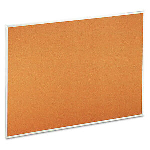 Universal Bulletin Board Natural Cork 48 X 36 Satin finished Aluminum Frame