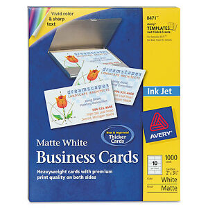 Avery Printable Microperf Business Cards Inkjet 2 X 3 1 2 White Matte 1000 box