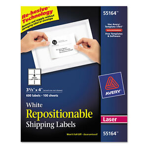 Avery Repositionable Shipping Labels Inkjet laser 3 1 3 X 4 White 600 box 55164