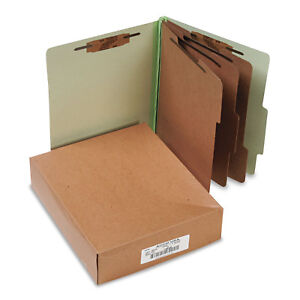 Acco Pressboard 25 pt Classification Folders Letter 8 section Leaf Green 10 box