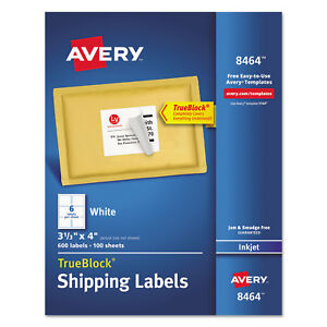 Avery Shipping Labels With Trueblock Technology Inkjet 3 1 3 X 4 White 600 box