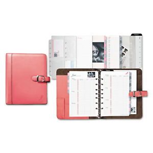 Day timer Pink Ribbon Loose leaf Organizer Starter Set 5 1 2 X 8 1 2 Pink white