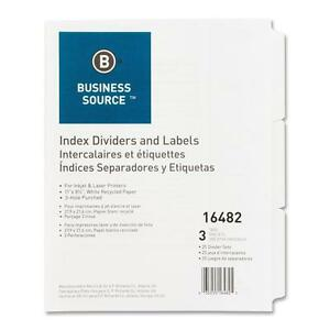 Business Source Index Dividers 3hp 3 tab 25 Sets bx 11 x8 1 2 White 16482