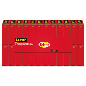 Scotch Transparent Tape 3 4 X 1000 1 Core Clear 24 pack 600k24