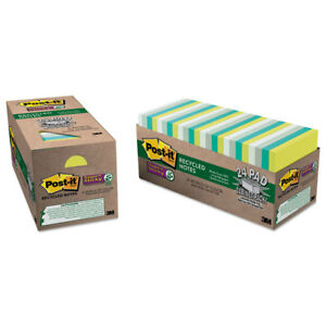 Post it Recycled Notes In Bora Bora Colors 3 X 3 70 sheet 24 pack