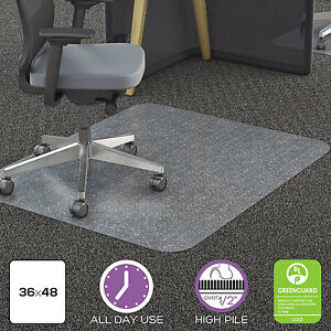 Deflecto Clear Polycarbonate All Day Use Chair Mat For All Pile Carpet 36 X 48