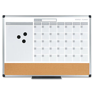 Mastervision 3 in 1 Calendar Planner Dry Erase Board 24 X 18 Aluminum Frame