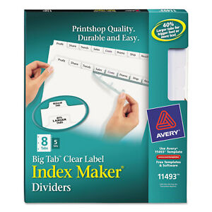 Avery Print Apply Clear Label Dividers W white Tabs 8 tab Letter 5 Sets 11493