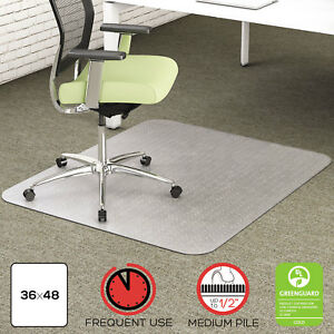 Deflecto Environmat Recycled Anytime Use Chair Mat For Med Pile Carpet 36 X 48