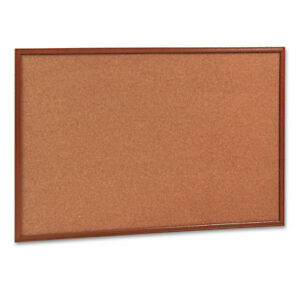 Mead Cork Bulletin Board 36 X 24 Oak Frame 85366