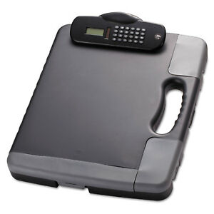 Officemate Portable Storage Clipboard Case W calculator 11 3 4 X 14 1 2 Charcoal